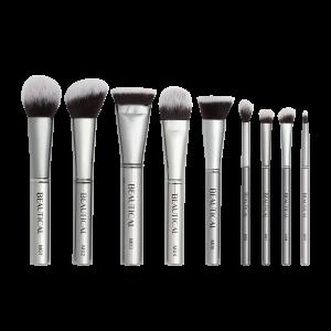 beautical metal glam brush set gunmetal makeup brushes